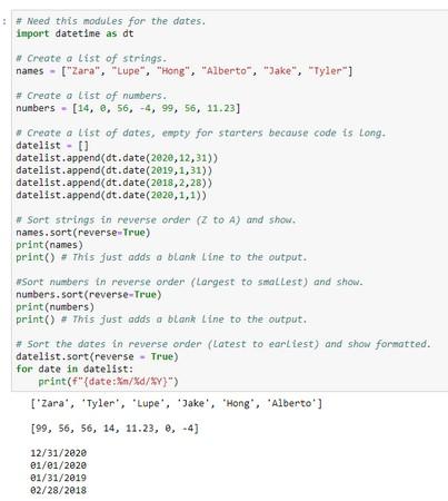 sort info in Python list in reverse