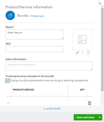 QuickBooks Online bundle panel