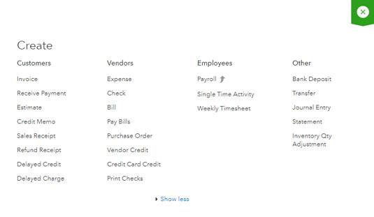 QBO Create menu