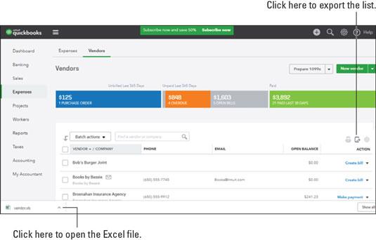 QuickBooks Online export list