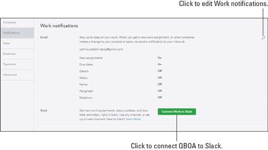 QuickBooks Online notifications