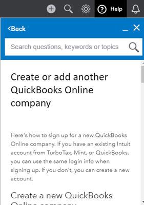 QuickBooks Online Help topic