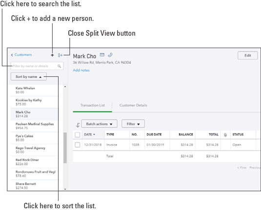 QuickBooks Online split view