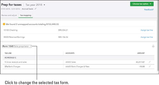 QBO tax mapping