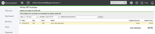 Writing off invoices in QBO