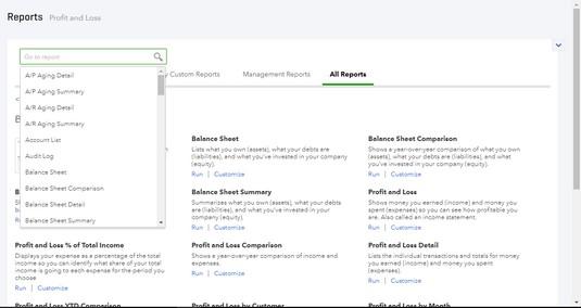 search reports QBO