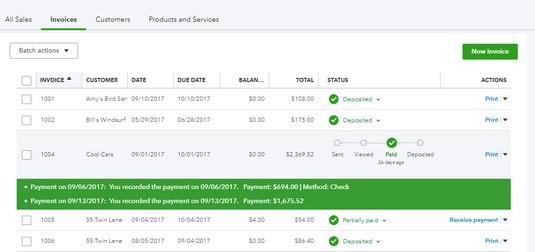 Status column QBO invoices