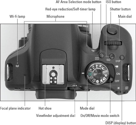 Controls on the Top of the Canon EOS Rebel T7i/800D - dummies