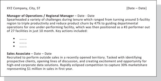 grouping on resume