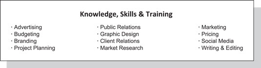 Resume example of knowledge and skills bullets