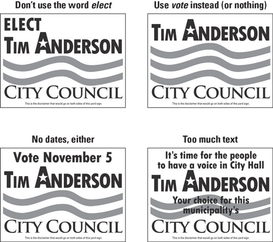 Yard signs for political campaign