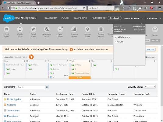 Account menu Salesforce Marketing Cloud