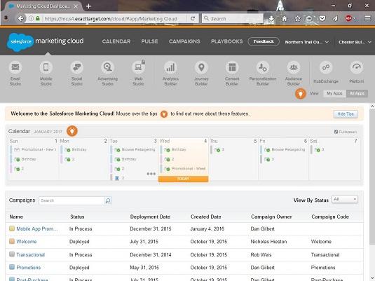 Salesforce Marketing Cloud dashboard
