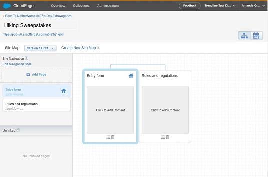 Marketing Cloud microsite workspace