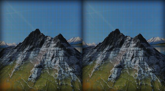 Screen-door effect virtual reality