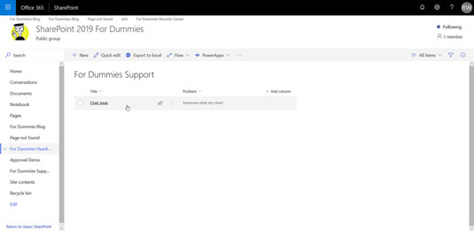 SharePoint lists for viewing