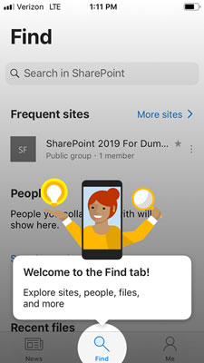 SharePoint Mobile initial screen