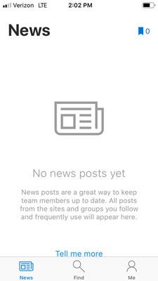 SharePoint Mobile News tab