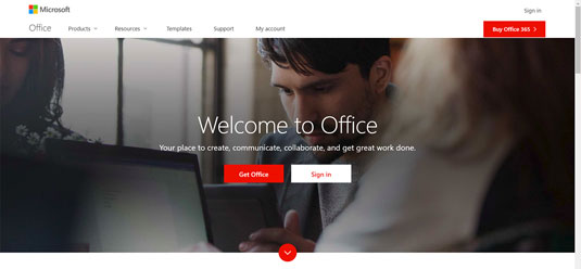 Office.com landing page