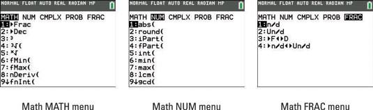 TI-84 MATH submenus
