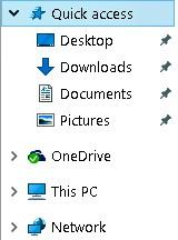 Navigation pane Windows 10