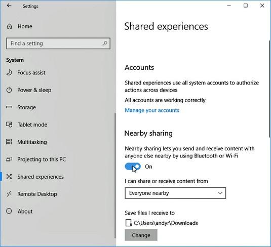 Nearby Sharing Windows 10