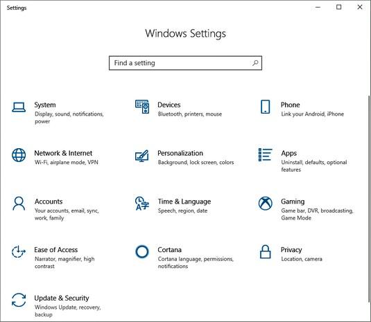 Settings app Windows 10