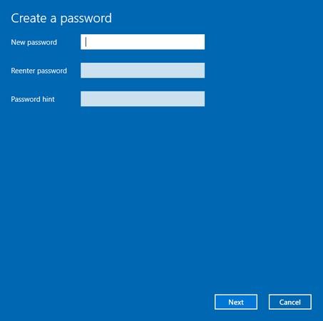 create password Windows 10