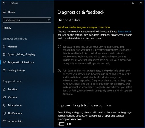 diagnostic data Windows 10