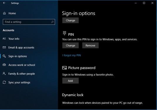 Windows 10 password settings