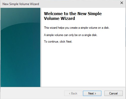Simple Volume Wizard Windows 10