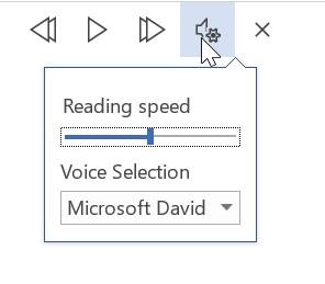 REad Aloud settings Word 2019