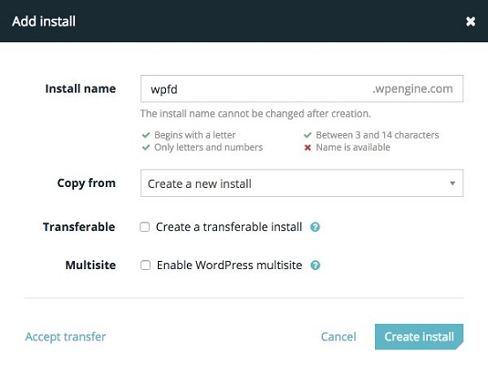 WP engine install page